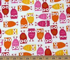 Robert Kaufman Cool Cords 21 Wale Cotton Corduroy Owls White Fabric