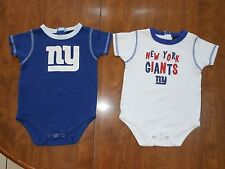 Lot of two New York Giants NFL Graphic bodysuit 24 months White and Blue - VGUC!