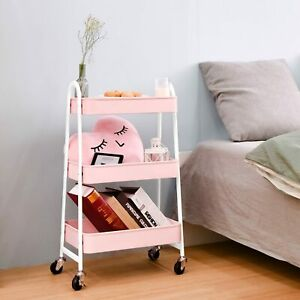 3-Tier Utility Rolling Cart with Large Storage and Metal Wheels for Office