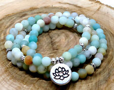 Beaded Bracelet Amazonite Pink Rose Quartz Uk 108 Mala Necklace Natural Stone
