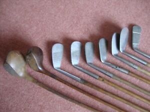 SET OF HICKORY GOLF CLUBS-RUSTLESS-PLAYABLE SET-9 CLUBS