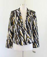 NWT Kasper Womens Black White Multi Abstract Printed Blazer Jacket Size 8 Career
