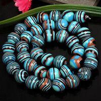 "6/8/10mm Natural Blue Stripe Turkey Turquoise Round Gemstone Loose Beads 15""AAA"