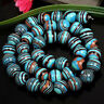 "6/8/10mm Natural Blue Stripe Turkey Turquoise Round Gemstone Loose Beads 15""AAA"