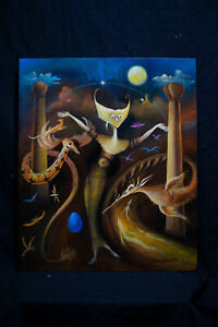 Offer Oil on canvas,NOT PRINTED, vintage,rare, Signed Leonora Carrington