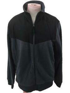 Russell mens fleece jacket size L 42 44 full zip gray black high neck pockets