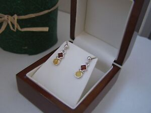 GORGEOUS 925 SOLID STERLING SILVER NATURAL BALTIC AMBER DROP DANGLE EARRINGS