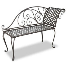 Cosenza Retro Wrought Iron Garden Love Seat-Chaise Lounge - Antique Brown