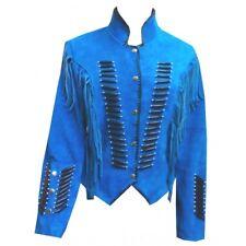 Womens Suede Leather Blue Fringe Native American Western Style Cowboy Jacket