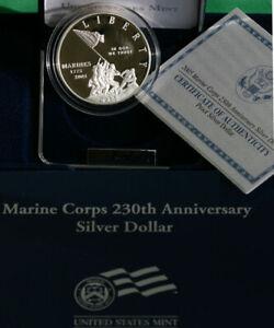 2005 P Marine Corps Proof Silver Dollar Marines 230th Anniversary Coin Box + COA