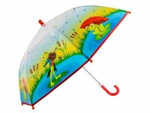 Kinderregenschirm Frosch transparent mit print