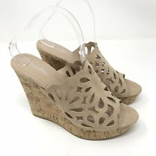Charles Charles David Shoes Size 9 Womens April Nude Flower Cutout Wedge Sandals