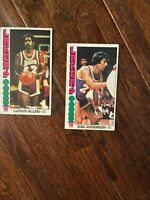 Topps Lakers Lucius Allen #34 1975-6 and Gail Goodrich #125 1975-76 Basketball