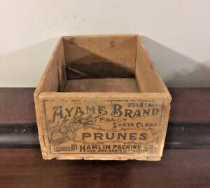 Ayame Brand Fancy Santa Clara Prunes Vtg 1920s Wooden Packing Crate Advertising