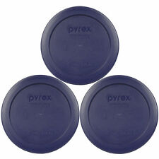 Pyrex 7200-PC Blue 2 Cup Round Plastic Lid Covers 3PK for Glass Bowls New