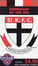 1996 AUSTRALIAN STAMP BOOKLET AFL CENTENARY ST KILDA 10 x 45c STAMPS MUH
