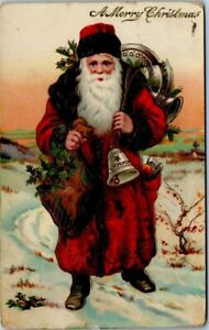 Antique Holiday Postcard - Santa Claus with Bells and Bag of Mistletoe - Posted