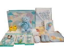 BNWT Baby boys girls Hospital baby shower gift bag bathtime hooded towel & teddy