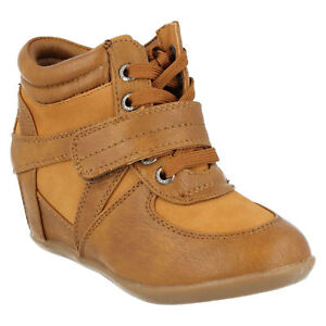 CUTIE GIRLS CASUAL RIPTAPE LACE FASTEN TAN WEDGE HEEL ANKLE BOOTS SHOES H5R013