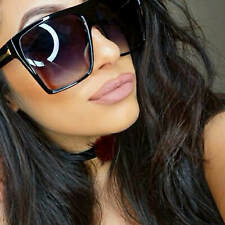 Flat Top Large Oversized Women Sunglasses Square Black and Brown Frame Aviator
