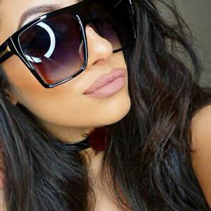 Flat Top Large Oversized Women Sunglasses Square Black Brown Frame Gafas de Sol