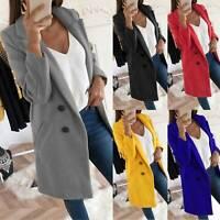 Womens Overcoat Woolen Trench Coat Outwear Cardigan Winter Long Jacket Plus Size