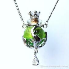 1pc Murano Glass Green oil perfume bottle crystal cork pendant vial Necklace new