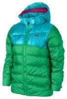 Nike Girls Alliance 550 Hooded Jacket Green/Blue SMALL Age 8-9