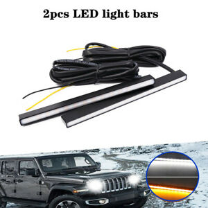 2xUltra Slim Switchback White/Amber 29 LED Bulbs Daytime Running Light Fog Lamps
