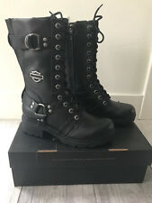 *NEW* HARLEY DAVIDSON BLACK LEATHER  MOTORCYCLE BOOTS Style EDA SIZE W 9.5