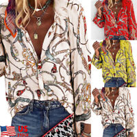 Plus Size Womens V Chain Print Button Shirt Long Sleeve Casual Blouse Loose Tops