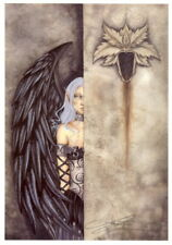 Amy Brown Print Fairy Dark Secrets Signed Feather Wings Gothic Grey Hiding New