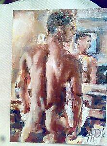 Original art,gay art interest,sexy boy armpits,male torso,muscle man portrait