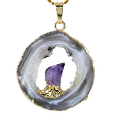 Irregular Natural Crystal Quartz Agate Druzy Geode Slice Middle Amethyst Pendant