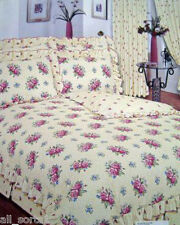 SINGLE BED DUVET COVER SET VINTAGE FRILLED ROSAMUND FLORAL CREAM BLUE LUXURY