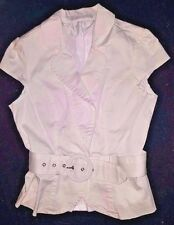 Sexy Charlotte Russe White Blouse/Top/Shirt Sleeveless No Button Wide Belt Small