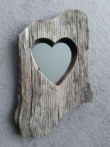 Chunky Hand Made Driftwood Rustic Heart Mirror