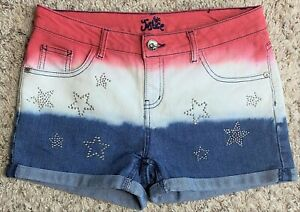 Justice Girls' Red, White, Blue Denim Shorts with Silver Stars, Size 16R