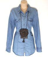 Women's Vintage C&A Fitted Popper Blue Denim Retro Jean Shirt Size UK16 UK18