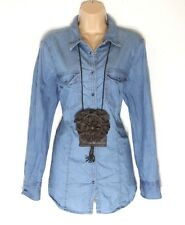 Women's Vintage C&A Western Country Fitted Popper Blue Denim Jeans Shirt UK18