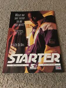 Vintage QADRY ISMAIL STARTER Poster Print Ad 90s MINNESOTA VIKINGS ROCKET JACKET