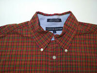 Tommy Hilfiger Mens L Large Plaid Long Sleeve Button Down Shirt
