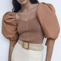 tan brown fitted elastic dressy puff half sleeve top sweetheart neckline blouse