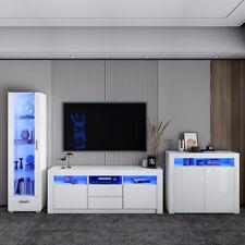 Living Room Set - White TV Unit High Display Cabinet 2/3 Door Cupboard Sideboard