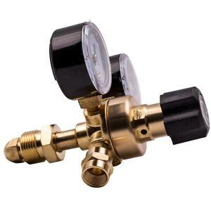 Gas regulator Argon CO2 Mig Tig Welding plexiglass dial 0-315 bar  DUAL GAUGE