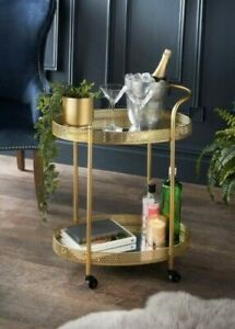 Chic Glamour Drinks Trolley, Gold w/2 Mirrored Shelves Art Deco/Vintage Bar Cart
