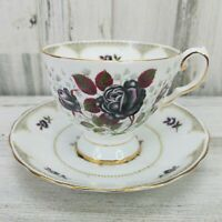 Tuscan Midnight Rose Fine Bone China Coffee Tea Cup and Saucer England Floral