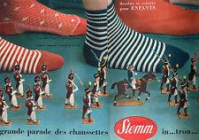 PUBLICITE ADVERTISING 015  1957  STEMM  chaussettes pour enfants ( 2pages)