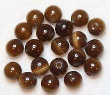 20 oeil de chat perles en verre 8 mm Rond toute fin-Café (BBA 120)