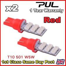 2 x RED 9 SMD LED 501 T10 W5W Side / Number Plate / Interior Light